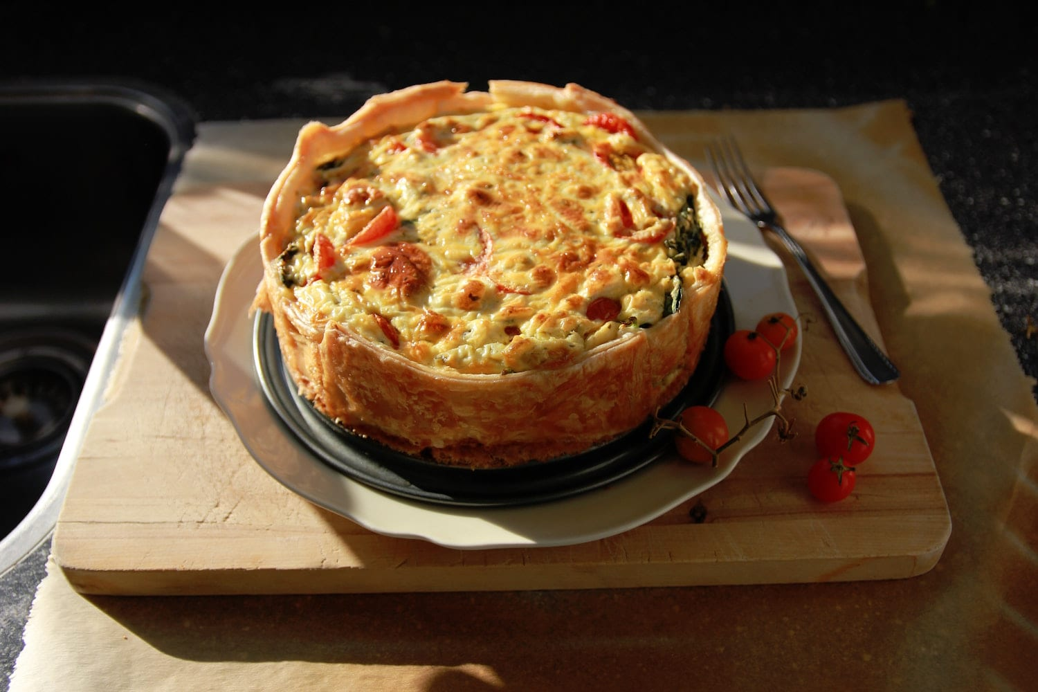 Deep Dish Pizza Served on a Pie Plate